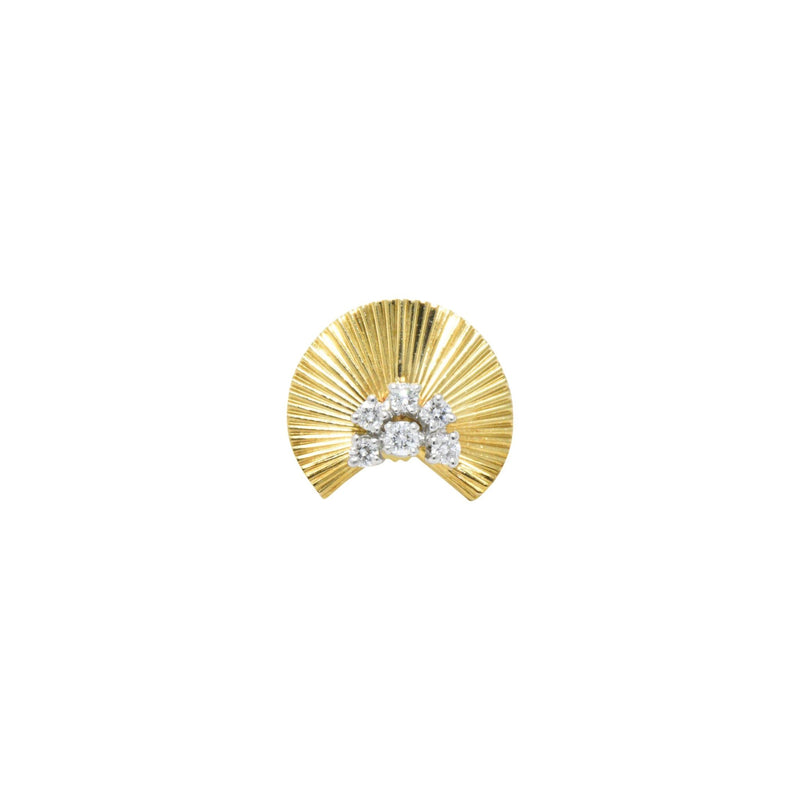 McTeigue & Co. .40 Carat Retro 18K Yellow Gold & Platinum Diamond Earrings - Wilson's Estate Jewelry