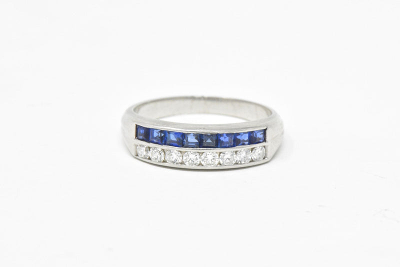 McTeigue & Co. Platinum Diamond & Blue Sapphire Ring Vintage Wedding Band - Wilson's Estate Jewelry