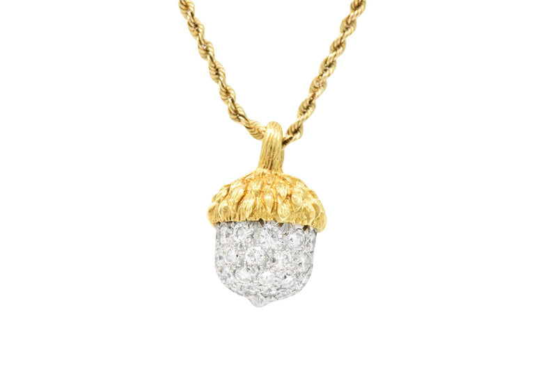 Mcteigue Retro 1.20 Ctw Diamond Platinum 18 Karat Gold Acorn Pendant Necklace Necklace