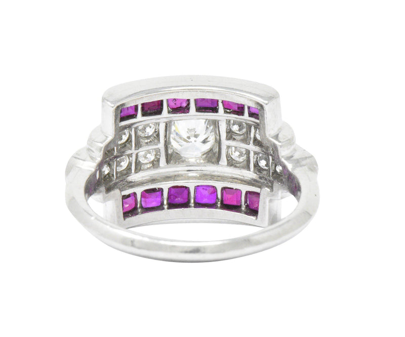 McTeigue Retro 1.99 CTW Diamond Ruby Platinum Ring Ring