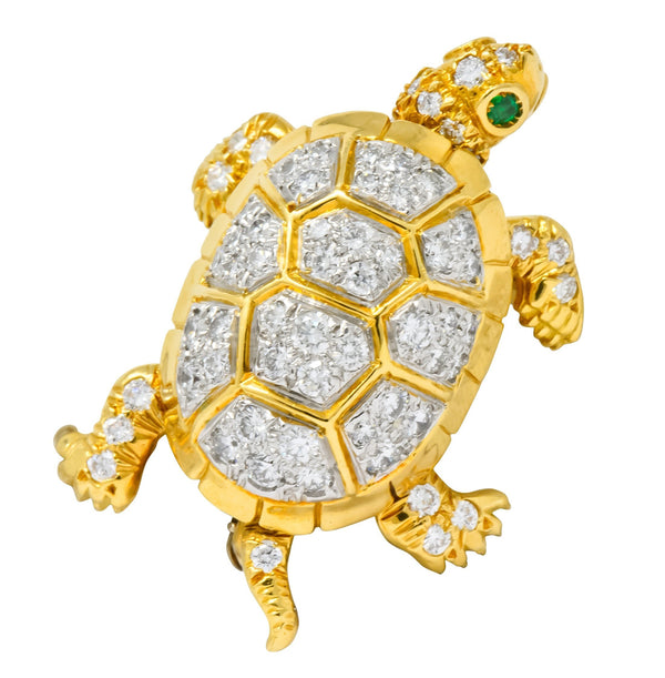 McTeigue Vintage 2.20 CTW Diamond Emerald Platinum-Topped 18 Karat Gold Turtle Pendant Brooch - Wilson's Estate Jewelry