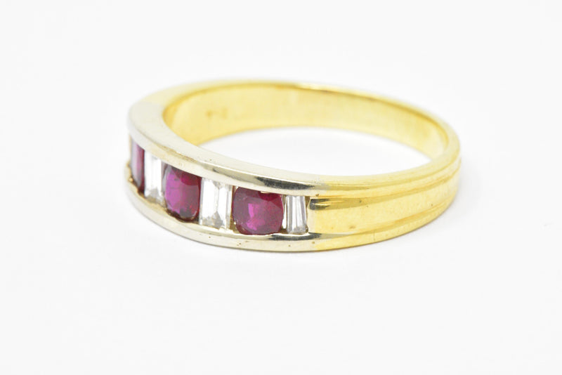 Men's SADEIS Ruby Diamond  18K White & Yellow Gold Ring Size 11.5 - Wilson's Estate Jewelry