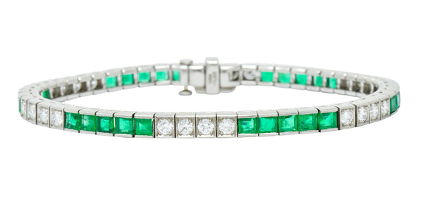 Mid-Century 6.06 CTW Diamond Emerald Platinum Unisex Tennis Line Bracelet bracelet Contemporary diamond Emerald mid-century out-of-stock