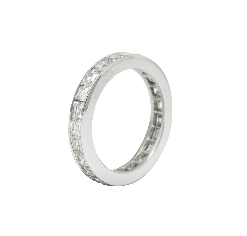 1950's Mid-Century 4.14 CTW Asscher Diamond Platinum Eternity Band Ring - Wilson's Estate Jewelry