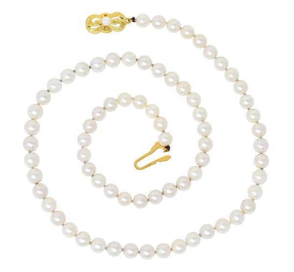 Mikimoto Contemporary Cultured Pearl 18 Karat Yellow Gold Necklace Necklace
