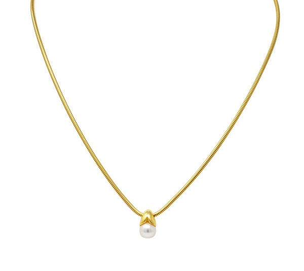 Mikimoto Cultured Pearl 18 Karat Gold Drop Necklace Necklace