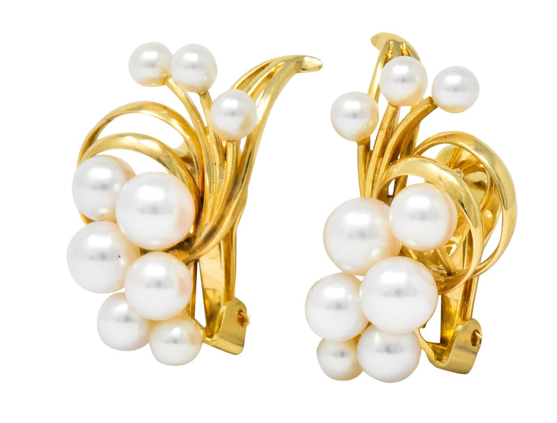 Mikimoto Cultured Pearl 18 Karat Gold Ear-Clip Earrings - Wilson's Estate Jewelry