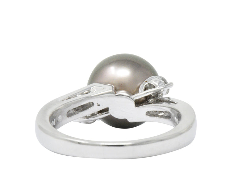 Mikimoto Grey South Sea Pearl 0.40 CTW Diamond Platinum Ring - Wilson's Estate Jewelry
