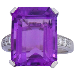 Modern 11.00 CTW Amethyst Diamond Platinum Cocktail Ring - Wilson's Estate Jewelry
