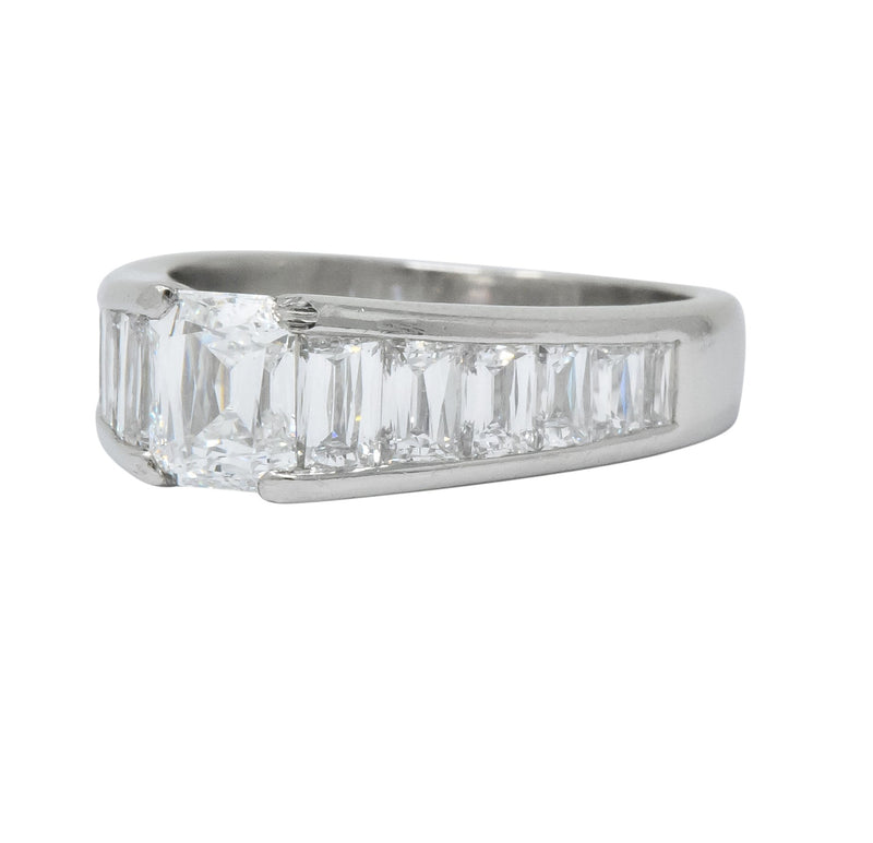 Modern 2.52 CTW Crisscut Diamond Platinum Engagement Ring GIA - Wilson's Estate Jewelry