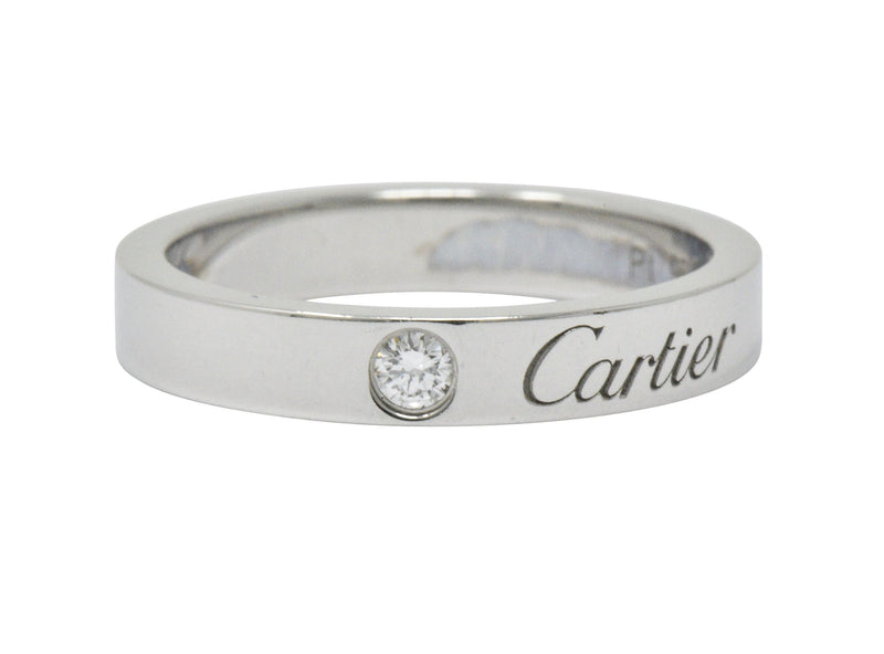 Modern Cartier Diamond Platinum Band Ring Ring Contemporary out-of-stock signed
