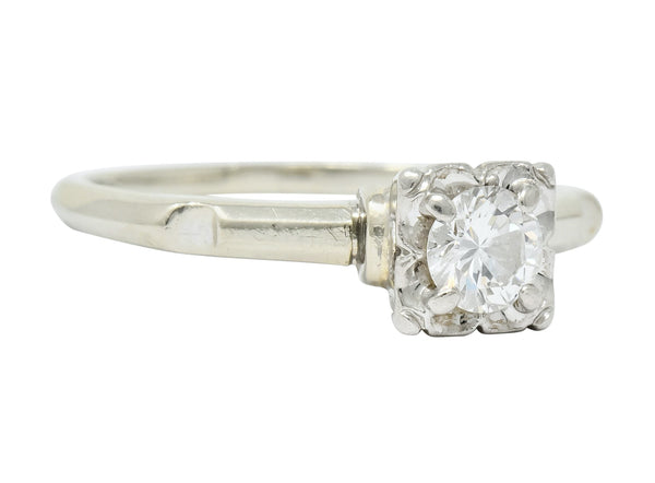 Orange Blossom 0.36 CTW 18 Karat White Gold Engagement Ring Circa 1950s - Wilson's Estate Jewelry