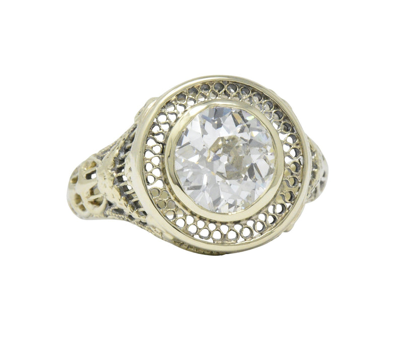 Ornate Victorian 1.61 Carats Old European Diamond 14 Karat Gold Engagement Ring GIA Ring