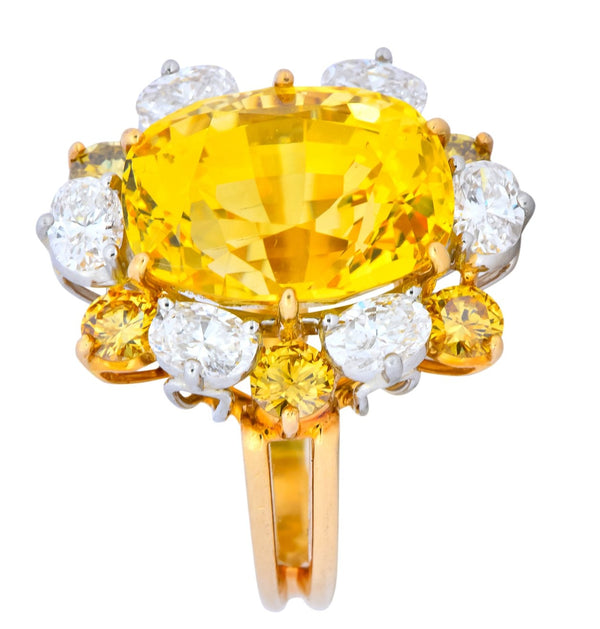 Oscar Heyman 14.86 CTW No Heat Golden Yellow Sapphire Fancy Colored Diamond Platinum 18 Karat Gold Ring GIA Ring Contemporary Diamond GIA