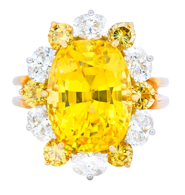 Oscar Heyman 14.86 CTW No Heat Golden Yellow Sapphire Fancy Colored Diamond Platinum 18 Karat Gold Ring GIA - Wilson's Estate Jewelry