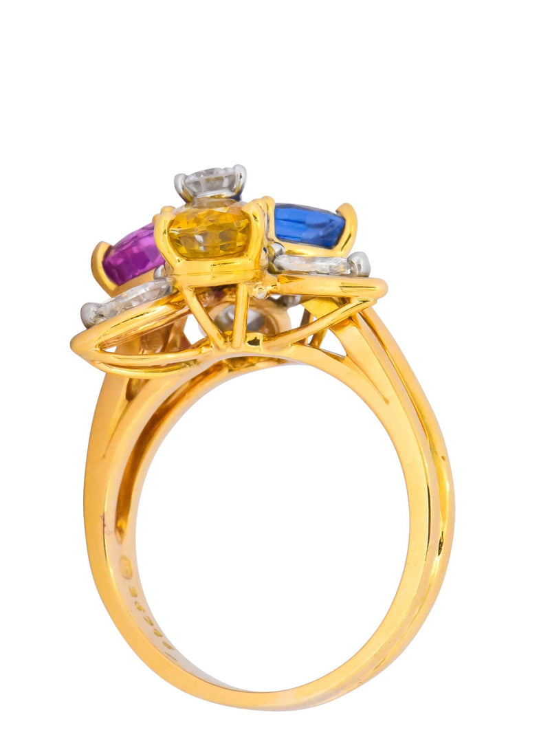 Oscar Heyman Bros. 4.05 CTW Sapphire Diamond 18 Karat Gold Floral Ring - Wilson's Estate Jewelry