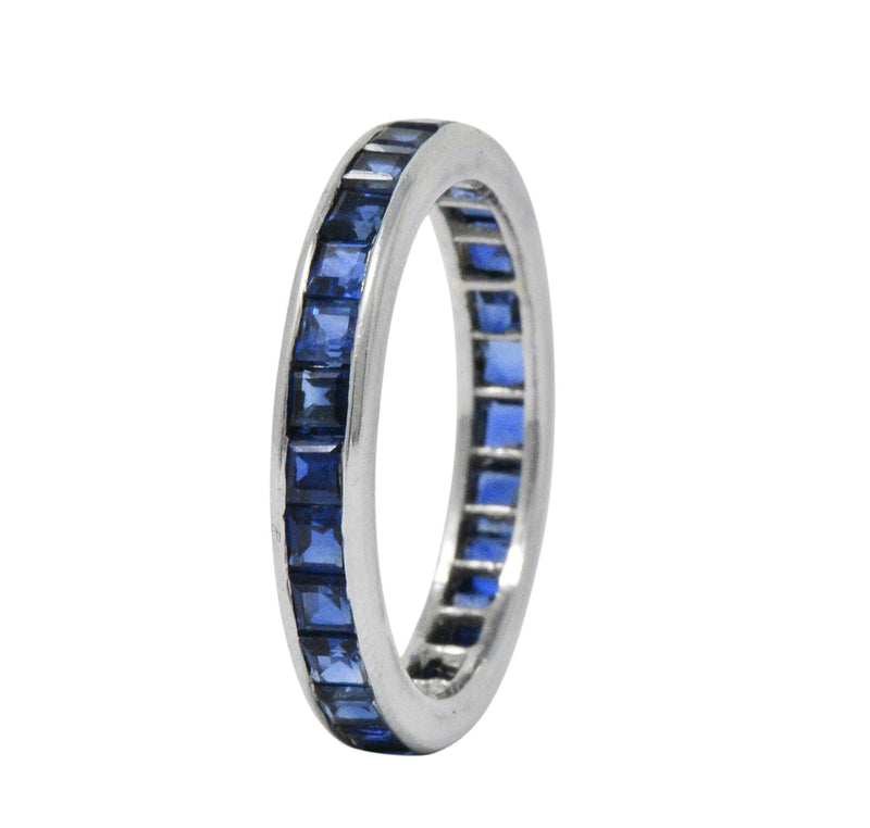 Oscar Heyman Brothers Vintage 2.70 CTW Sapphire Platinum Eternity Band Ring - Wilson's Estate Jewelry