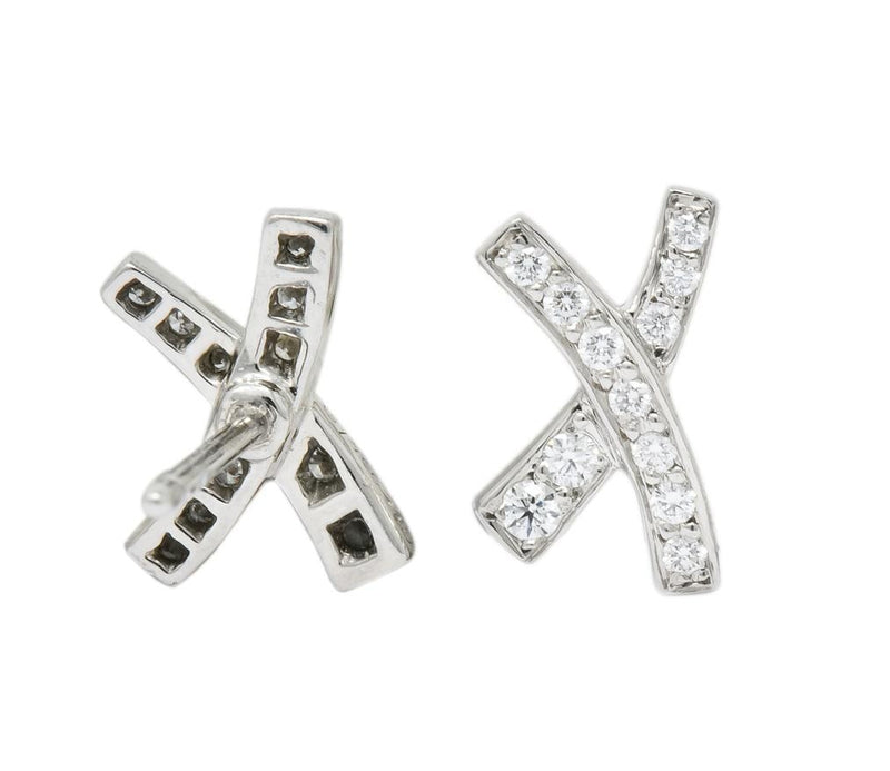 Paloma Picasso Tiffany & Co. 1980's Vintage 0.30 CTW Diamond Platinum Kiss X Stud Earrings - Wilson's Estate Jewelry