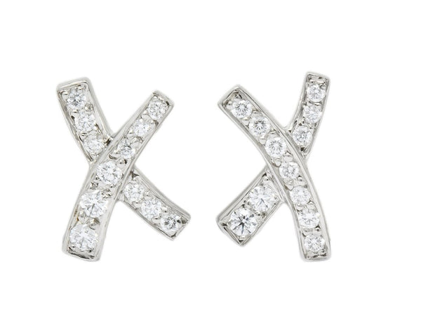 Paloma Picasso Tiffany & Co. 1980s Vintage 0.30 CTW Diamond Platinum Kiss X Stud Earrings Earrings