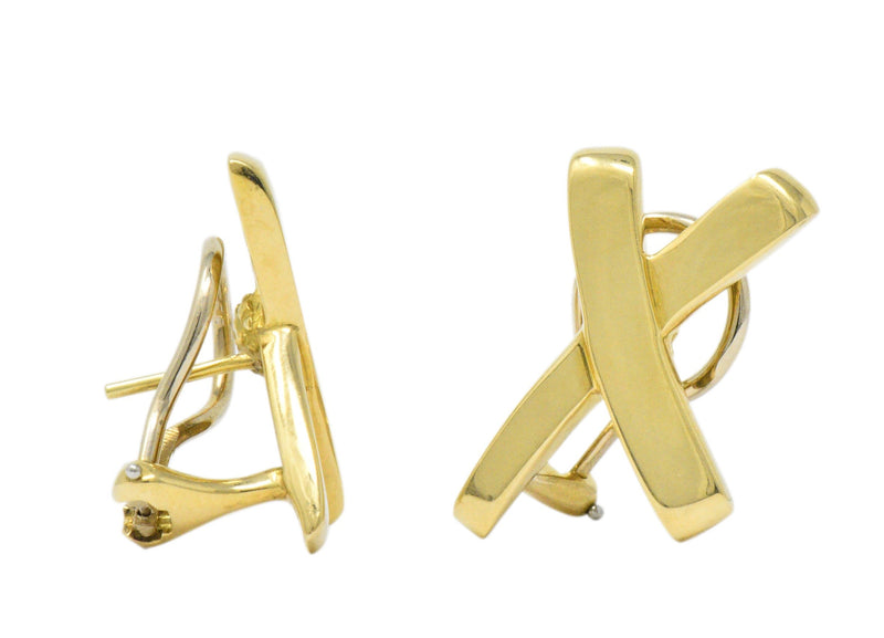 "Paloma Picasso Tiffany & Co. 1984 18 Karat Gold ""X"" Earrings - Wilson's Estate Jewelry"