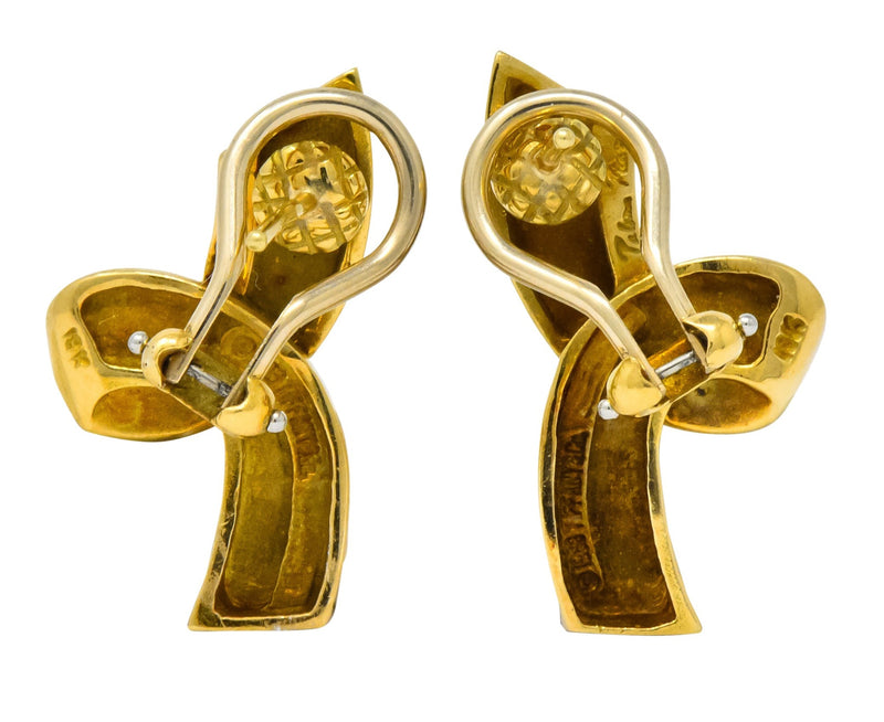Paloma Picasso Tiffany & Co. 1986 18 Karat Yellow Gold Ribbon Earrings - Wilson's Estate Jewelry