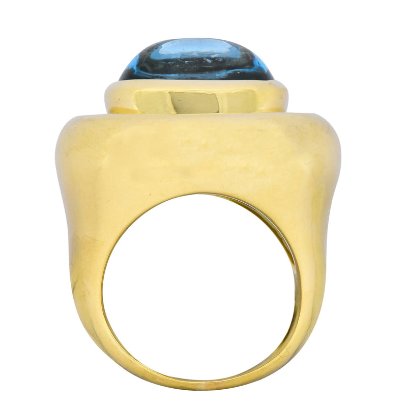 Paloma Picasso Tiffany & Co. Aquamarine 18 Karat Yellow Gold Cocktail Ring - Wilson's Estate Jewelry