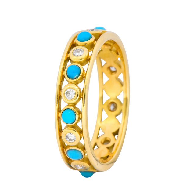 Paloma Picasso Tiffany & Co. Italy Diamond Turquoise 18 Karat Gold Band Ring Ring