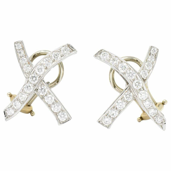 Paloma Picasso Tiffany & Co. Vintage 1.20 Carat Diamond Platinum X Kiss Earrings Earrings
