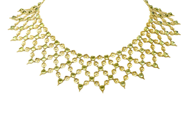 Paul Morelli 30.52 CTW Peridot Diamond 18 Karat Green Gold Floral Lace Fringe Necklace Necklace