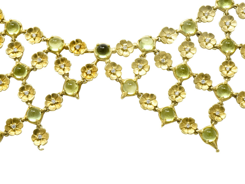 Paul Morelli 30.52 CTW Peridot Diamond 18 Karat Green Gold Floral Lace Fringe Necklace - Wilson's Estate Jewelry