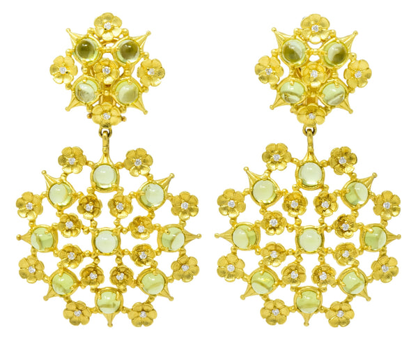 Paul Morelli 8.18 CTW Peridot Diamond 18 Karat Green Gold Floral Lace Earrings Earrings
