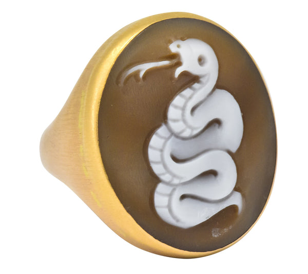 Pomellato Eva Rose Shell 18 Karat Rose Gold Snake Cameo Unisex Ring - Wilson's Estate Jewelry