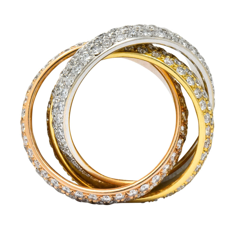 Rabino 5.00 CTW Diamond 18 Karat Tri-Colored Italian Rolling Band Trinity Ring - Wilson's Estate Jewelry