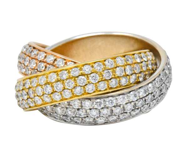 Rabino 5.00 CTW Diamond 18 Karat Tri-Colored Italian Rolling Band Trinity Ring Ring