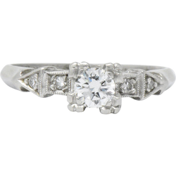 Retro 0.31 CTW Diamond Platinum Engagement Ring - Wilson's Estate Jewelry