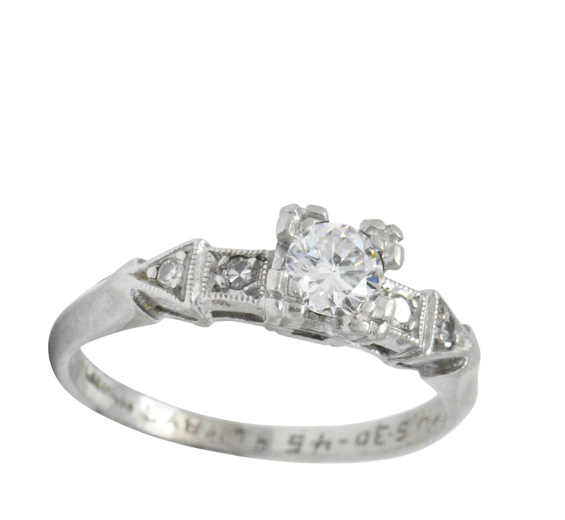 Retro 0.31 CTW Diamond Platinum Engagement Ring Ring