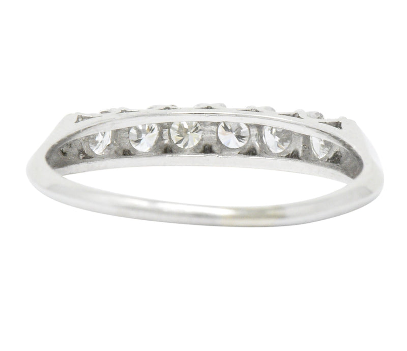Retro 0.50 CTW Diamond Platinum Anniversary Stackable Ring - Wilson's Estate Jewelry