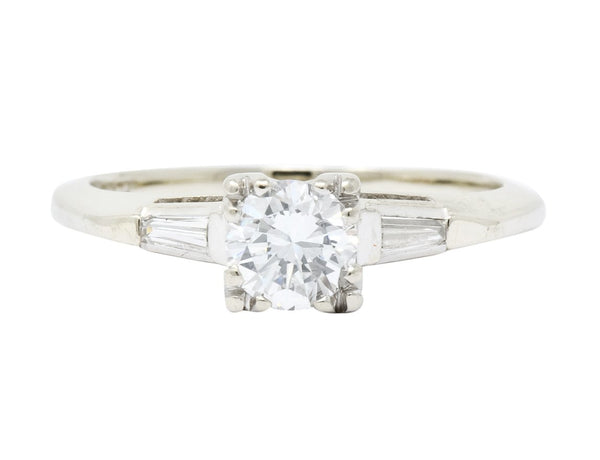 Retro 0.55 CTW Diamond 14 Karat White Gold Engagement Ring Ring