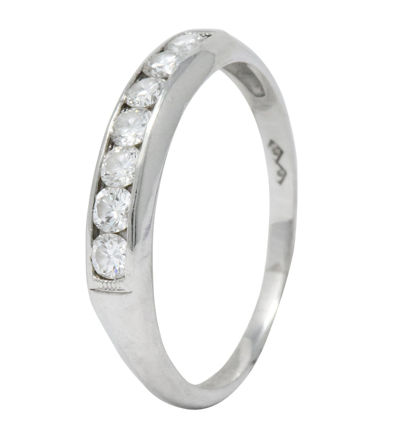 Retro 0.55 CTW Diamond Platinum Band Stackable Ring - Wilson's Estate Jewelry