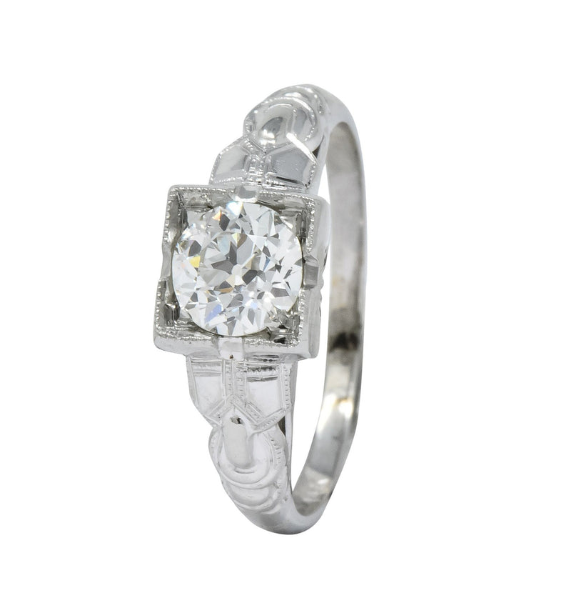 Retro 0.64 CTS Diamond 14 Karat White Gold Engagement Ring GIA - Wilson's Estate Jewelry