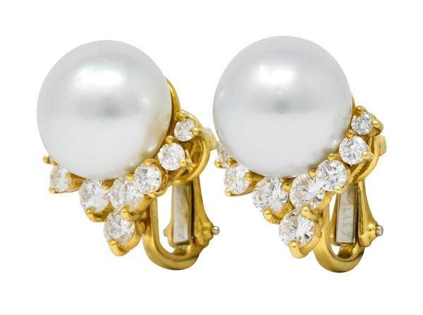 Retro 0.76 CTW Diamond Cultured South Sea Pearl 18 Karat Gold Earrings Earrings