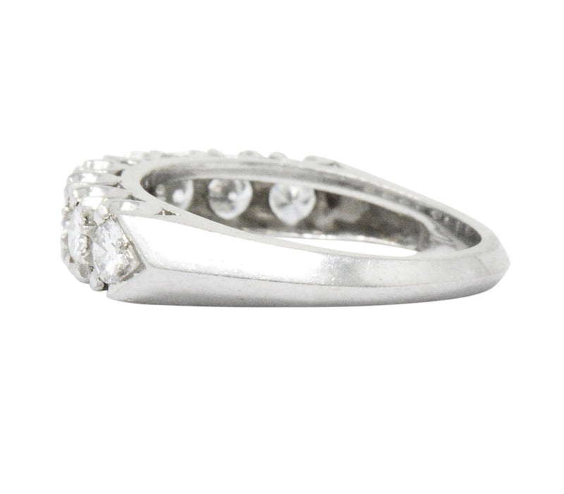 Retro 0.85 CTW Diamond Platinum Anniversary Stackable Band Ring Ring