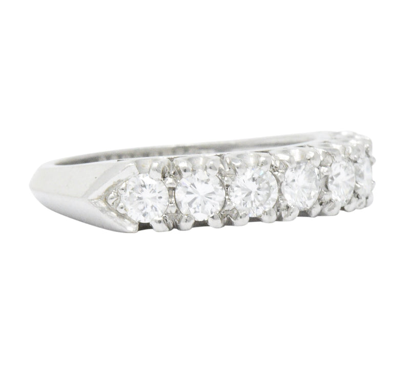 Retro 0.85 CTW Diamond Platinum Anniversary Stackable Band Ring - Wilson's Estate Jewelry