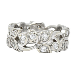 Retro 0.95 CTW Diamond 14 Karat White Gold Band Ring - Wilson's Estate Jewelry