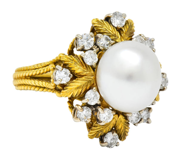 Retro 0.95 CTW Diamond South Sea Pearl 18 Karat Gold Cluster Ring Ring