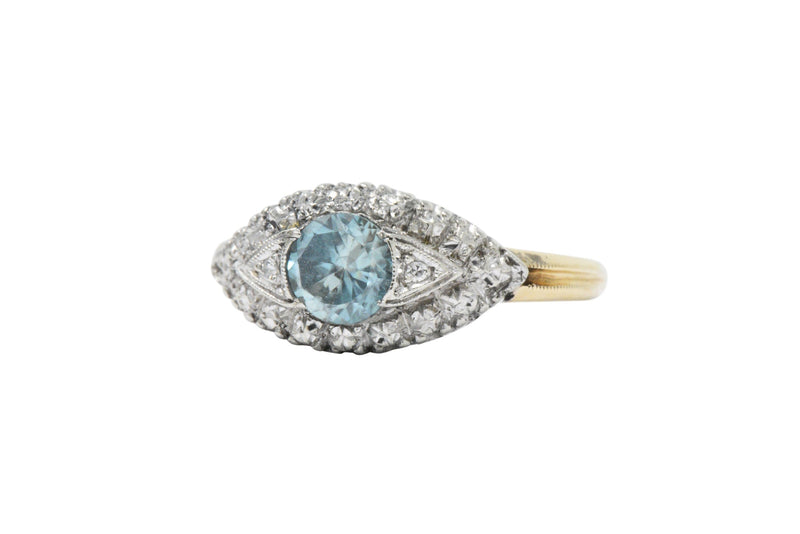 Retro 1.00CTS Zircon Diamond Platinum & 14K Gold Ring - Wilson's Estate Jewelry