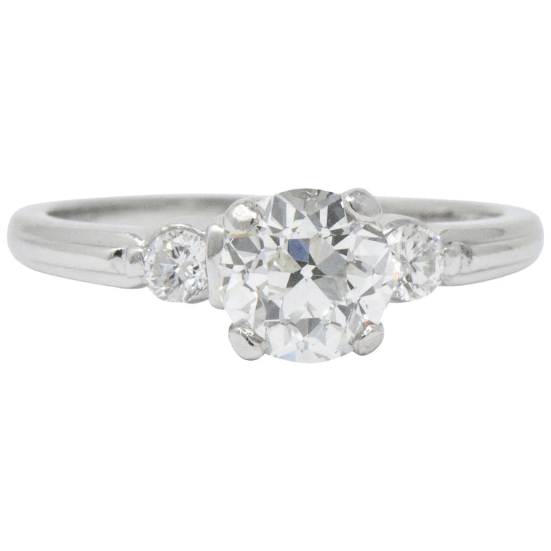 Retro 1.09 CTW Diamond Platinum Engagement Ring GIA Ring