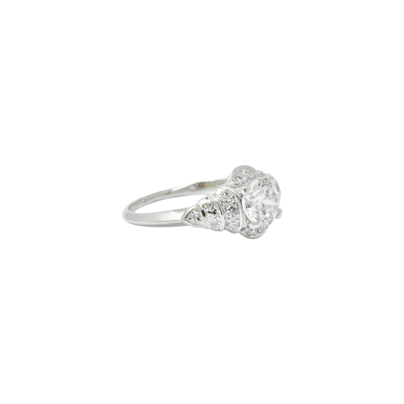 Retro 1.10 CTW Diamond Platinum Engagement Ring Circa 1940's - Wilson's Estate Jewelry