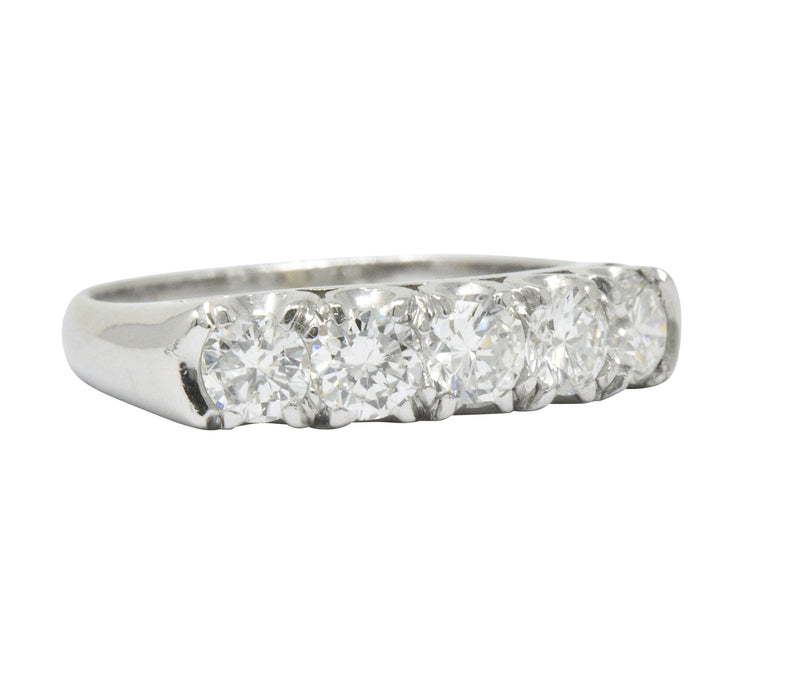 Retro 1.25 CTW Diamond Platinum 5 Stone Anniversary Band Stackable Ring - Wilson's Estate Jewelry