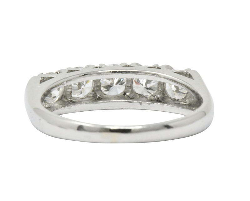 Retro 1.25 CTW Diamond Platinum 5 Stone Anniversary Band Stackable Ring Ring